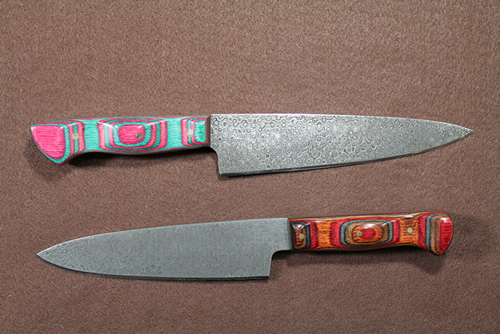 samples of Damascus steel blades